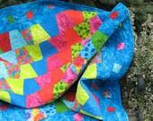 Bright Lap Quilt Sofa Quilt Throw Blanket Vibrant Colors Blues Greens Reds