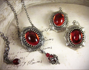 Red Renaissance Necklace and Earring Set, Ruby Jewel Necklace, SCA Garb, Tudor Jewelry, Medieval Costume, Ren Faire, Renaissance, MedCol