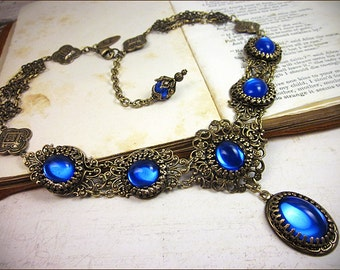 Blue Renaissance Necklace, Sapphire Victorian Jewelry, Bridal, Medieval Wedding, Ren Faire Bride, Tudor Costume, SCA Garb, Lucia