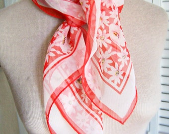 Vintage Scarf Sheer Red and White Daisy 27 x 27 square with border , Summer Weight Scarf