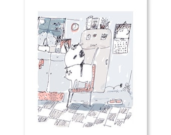 While you were sleeping - Funny Cat Art - Large Cat Poster - Gift for Cat Lover
