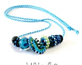 Nuts and Washers Beaded Beads Necklace in Blues with Lampwork Glass