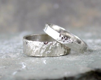Hammered 14K White Gold Wedding Bands - His and Hers - Hammered Texture Band - Commitment Rings - Matching Wedding Rings - Wedding Band Set
