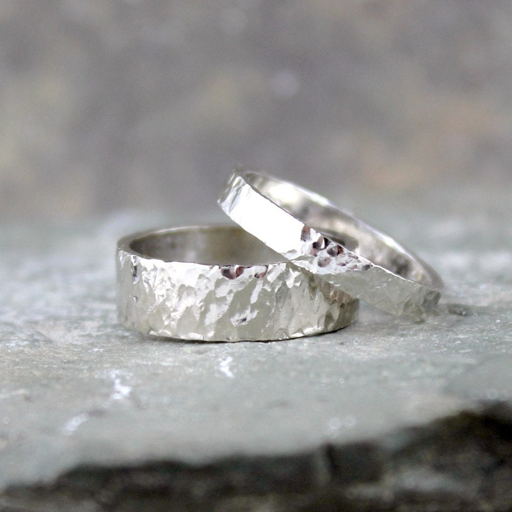 Hammered 14K White Gold Wedding Bands His And Hers