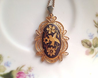 Vintage Damascene Enamel Floral Bird and Flowers Gold Tone Necklace. Oval Filigree Setting. Woodland. Unusual Bird Jewelry. Gold. 1970s