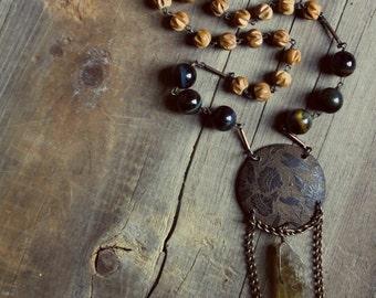 November Sun. Genuine Sandalwood, Tiger Eye and Honey Quartz Necklace.