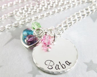Baba Necklace Handstamped Sterling Silver Personalized