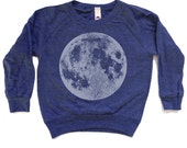 Blue Full Moon Raglan Shirt - long sleeve length raglan tee, unisex blue-grey ink screenprint, back to school, awesome clothes for kids