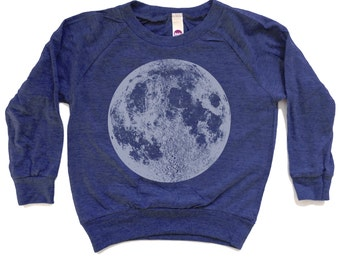 Kids Blue Moon Shirt, Kids Full Moon Raglan, Kids Space T-Shirt, Astronomy shirt, graphic tee, hand screen printed back to school clothes