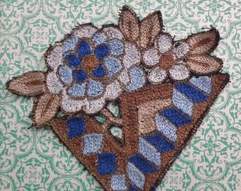 Vintage Applique 1920s 1930s Sew On Fabric Applique Flowers Antique Art Deco Motif Decorative Trim 20s 30s blue brown gold metallic thread