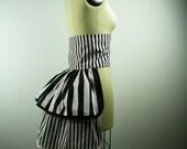Striped Bustle, Women's Bustle, Women's Costume, Carnival Costume, Striped Costume, Black and White Stripe Costume