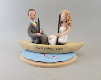 Personalized Bride & Groom Fishing Wedding Cake Topper