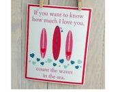 Nursery surf art decor- surfer girl beach nursery decor, pink surfboard, 8x10 inch print by Cathie Carlson
