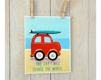 Children surf art- vw bug beach nursery decor, personalized, inspiration quote, vw, surfer print by Cathie Carlson