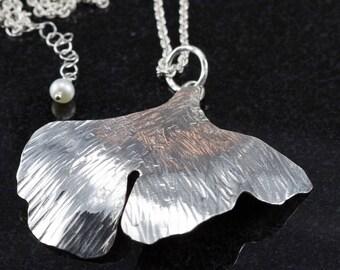 Ginkgo Leaf Necklace - Sterling Ginkgo Leaf Pendant - Argentium Ginkgo Leaf Necklace