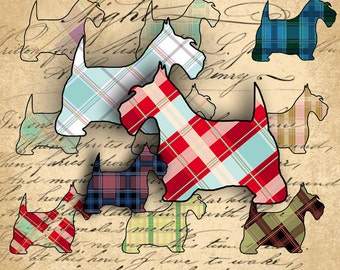 Instant Download Digital Collage Sheet - Scottish Terrier Plaid Images - DigitalPerfection digital collage sheet 1019