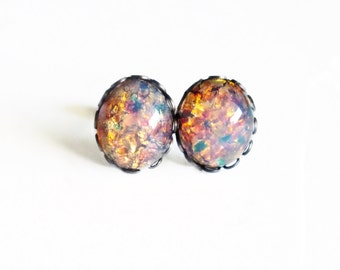 Opal Earrings Vintage Harlequin Fire Opal Domed Glass Cabochon Studs Posts Hypoallergenic Romantic Gifts For Her Valentine's Day