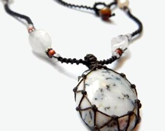 Dendrite Opal macrame Necklace - Your Stone For Abundance- Bohemian healing crystal