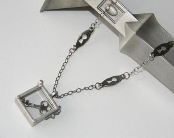 Shadowbox Key and Keyhole Necklace