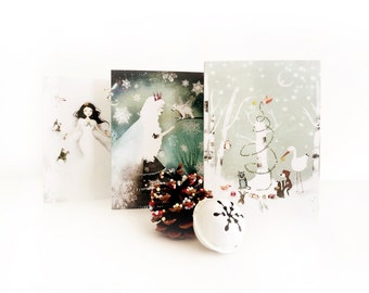 Set of 3 Greeting Cards + 3 White Envelopes - One of each design - Winter Wonderland - Snow Queen and Fairy Bear - An Enchanted Christmas