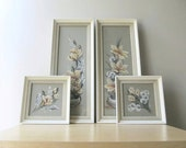 framed botanical watercolor paintings white wood frames artist signed G. Inez originals cottage chic