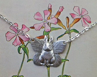 Silver Bunny Angel Necklace, Butterfly Winged Rabbit, Guardian Angel, Woodland, Animal Jewelry. Butterfly Wings. Pet Jewelry, Whimsical