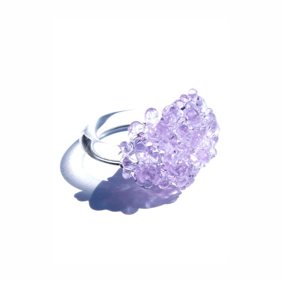 Glass Cluster Ring - Lilac