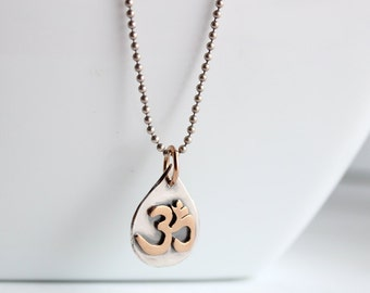 Om pendant, silver and bronze, Hapa Girls, Boho yoga jewelry, Gifts for her, READY to SHIP