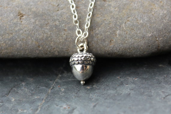 Small Acorn Sterling Silver Acorn Necklace - Achievement and Success  -woodland - free shipping USA - girls to womens plus sizes