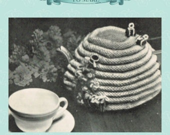 Vintage beehive bee tea cosy cozy knitting pattern-pdf email delivery instant download