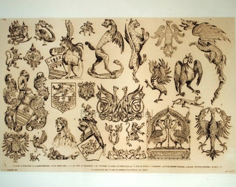 1859 Rare Poster Size French Antique Engraving by Beaumont. Plate 63 Dragons / Crests / Heraldry / Knights