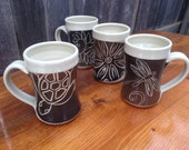 Turtle, Dragonfly, Fern and Flower / Set of 4 handmade pottery mugs in Brown/Black