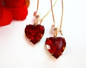 Heart Earrings - Jewelry Gift - Ruby Red Heart Earrings - TRUE Love