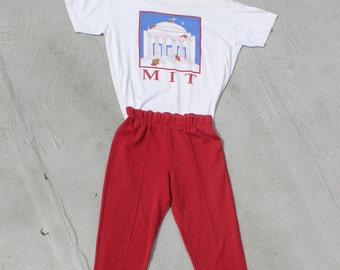 Slim Red Stirrup Pants High Waist Vintage 80s Sweats Basic Skinny