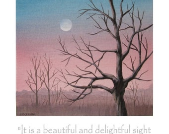 Blank Note Card 'Pale Moonrise' - Full Moon Rising in a Pink and Blue Sky with Bare Trees in the Foreground