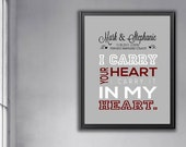 Wedding gifts, Custom Love Print, Couples wedding gifts Love print Anniversary gift, I carry your heart wall art bedroom decor romantic gift