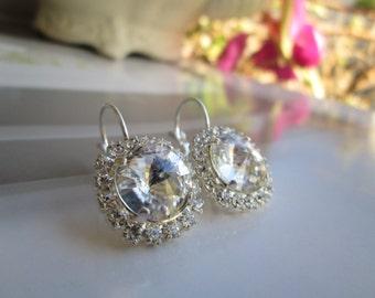 Clear Diamond Swarovski Earrings, High Quality Silver Plated Lever Back Earrings
