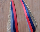 RESERVED...Red, blue, grey, and gold ribbon earrings...RESERVED