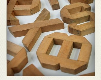 Antique Primitive Wooden Letter & Numbers - Your Choice