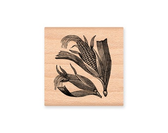 CORN HUSK Rubber Stamp~Thanksgiving Decor Stamp~DIY Fall or Autumn Stamp~Fall Harvest Bounty~Wood Mounted Stamp~Mountainside Crafts (29-21)