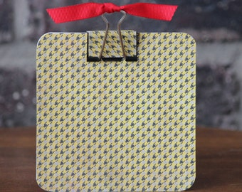 Yellow Houndstooth Post It Note Holder