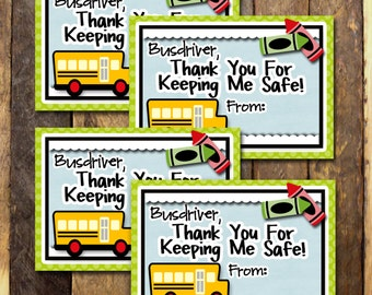 Teacher Appreciation School Bus Driver Thank You- Gift Tags, Cards- (4) 3.5x5 Cards- Instant download