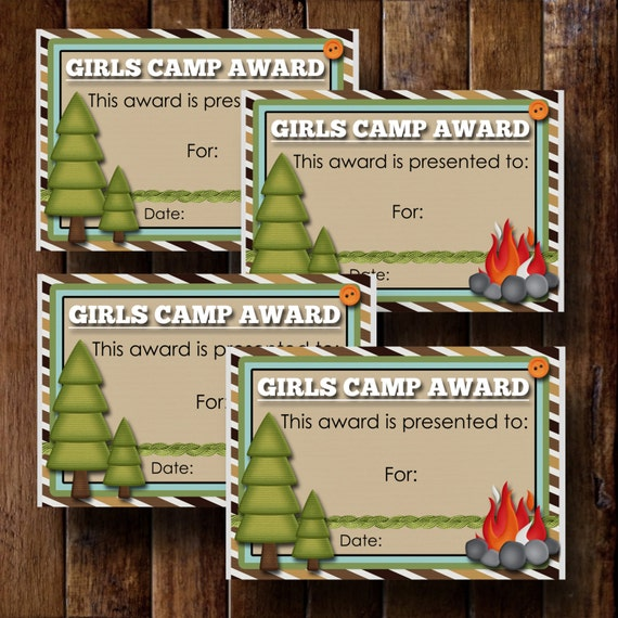 Girls Camp Awards Certificate 4 3.5x5 Cards Instant