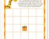 Giraffe Baby Shower Bingo Cards, Baby Shower Game, Instant download, DIY Bingo Game
