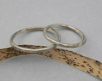 Rustic White Gold Wedding Bands - Antique Gold Hammered Rings