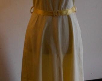 "1950's, 38"" bust, yellow cotton sun dress, sleeveless."