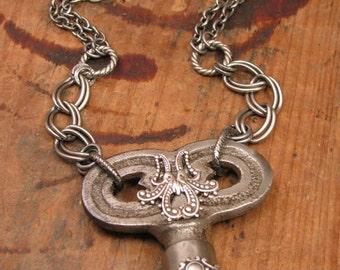 Key Jewelry - Upcycled Jewelry - Antique Steel Radiator or Valve Key Embellished Necklace