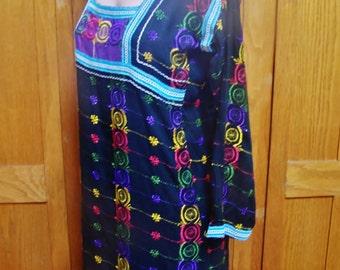 Caftan, Black Caftan, Embroidered caftan, Gypsy Caftan, embroidered maxi, size M