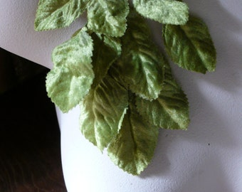 Green Leaves Velvet Millinery for Bridal, Hats, Boutonnieres, Headbands, Costumes, Crafts ML 16