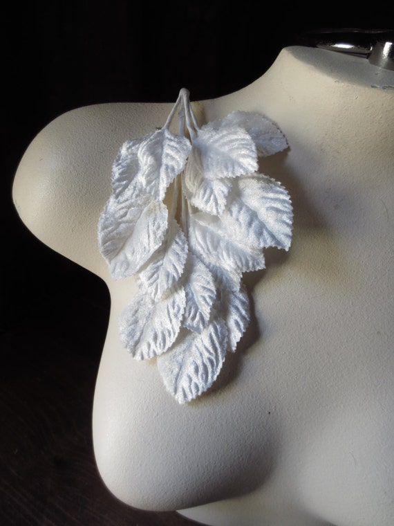 WHITE Leaves Velvet Millinery Leaves  for Bridal, Boutonnieres, Corsages, Headpieces, Sashes, Millinery